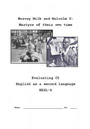 English Worksheet: Harvey Milk and Malcolm X Reading comprehension