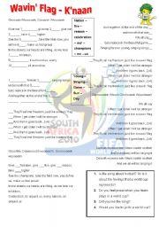 English Worksheet: Wavin� Flag - K�naan - World cup South Africa 2010