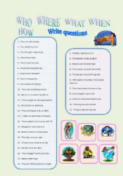 English Worksheets: Who, Where, What, When, How