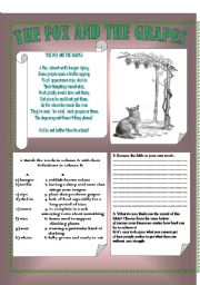 English Worksheets: The fox and the grapes