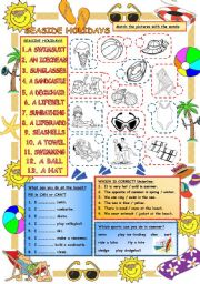 English Worksheet: Elementary Vocabulary Series6 � Seaside Holidays