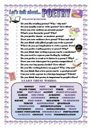 English Worksheets: LET�S TALK ABOUT POETRY (SPEAKING SERIES 42)