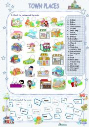 English Worksheets: Town places