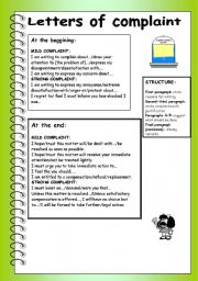 english teaching worksheets a letter of complaint english worksheets letters of complaint