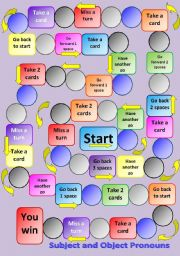 Subject and Object Pronouns Board Game