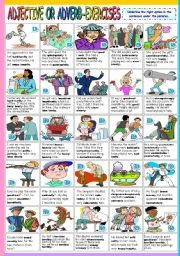 English Worksheet: ADJECTIVE OR ADVERB - EXERCISES (B&W VERSION+KEY INCLUDED)