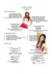 English Worksheets: Full Circle - Miley Cyrus - Song activitiy
