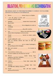 English Worksheet: Obligations, Prohibitions & Recommendations