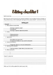English Worksheets: Editing your writing