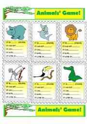 English Worksheet: Animals� Game!