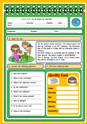 English Worksheets: BIRTHDAYS - TEST (4 PAGES)