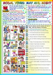 English Worksheets: MAY - MIGHT - GRAMMAR AND EXERCISES (B&W VERSION+KEY INCLUDED)
