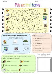 English Worksheets: Pets and their homes