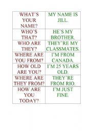 English Worksheets: Quesions and answers memory game