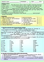English Worksheets: READING - WRITING EXERCISES 2