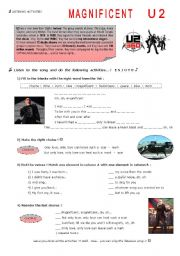 English Worksheets: MAGNIFICENT, U2