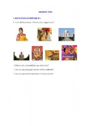 English Worksheet: reading task- indian culture- short stories- land of my childhood
