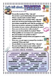 English Worksheets: LET�S TALK ABOUT TEACHERS (SPEAKING SERIES 43)