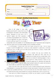 English Worksheet: Gap Year (test+correction)