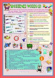 English Worksheets: SHORTENED WORDS 2