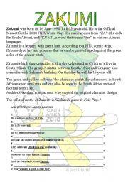 English Worksheet: SOUTH AFRICA 2010 - ZAKUMI