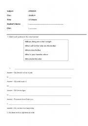 English Worksheets: English revision for Grade 4