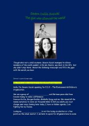 English Worksheets: Severn Cullis Suzuki - The girl who silenced the world