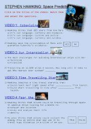 English Worksheet: Stephen Hawking�s space predictions