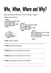 English Worksheet: when, who, where and why with the song