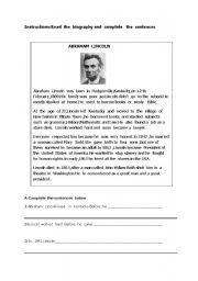 English worksheet: Abraham Lincoln
