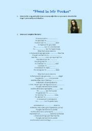 English Worksheet: hand in my pocket by Alanis Morissette