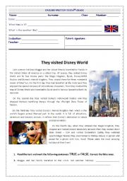 English Worksheet: They visited Disney World