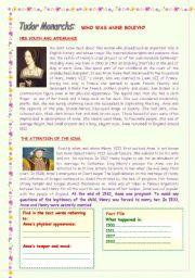 English Worksheets: TUDOR MONARCHS : ANNE BOLEYN. ( RE- UPLOADED)