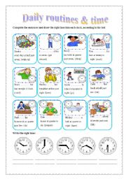 English Worksheets: Daily routines & the time (editable)