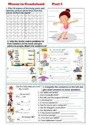 English Worksheets: Muzzy in Gondoland - Part 3- 5 tasks - 2 pages - editable