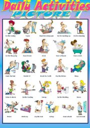 English Worksheets: Daily Activities 1 ( editable and B & W version included)