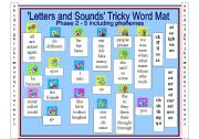English Worksheets: Letters and Sounds Tricky Word Mat