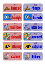 English Worksheets: British English vs American English memory game - set 6