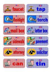 English Worksheet: British English vs American English memory game - set 6