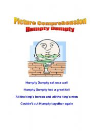 English Worksheet: Picture Comprehension - Humpty Dumpty