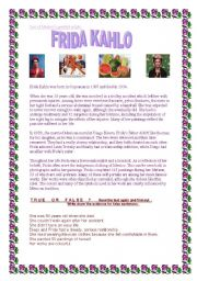 Printables Frida Kahlo Worksheets english worksheet frida reading comprehension