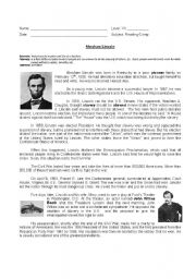 English worksheet: Abraham Lincoln´s biograohy