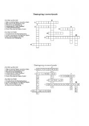 English Worksheet Thanksgiving Crossword Puzzle With Answers