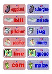 English Worksheet: British English vs American English memory game - set 5