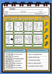 English Worksheet: SUBJECT PERSONAL PRONOUNS