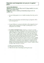 English worksheet: Migration and Immigration