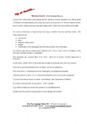 "English worksheet: ""Mononucleosis"" –The kissing disease"