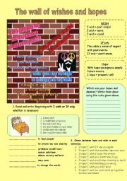 English Worksheet: I wish - I hope - If only { a very optimistic worksheet to apply these structures}