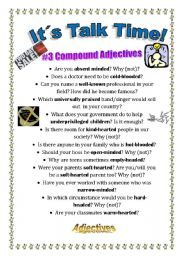 English Worksheet: Talk Time - Compound Adjectives Related to the Body