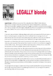 English Worksheets: Legally Blonde Comprehension [advanced]